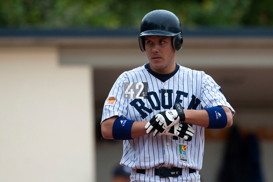 03 october 2009: Third base Boris Marche of Rouen is seen at bat during game 1 of the 2009 French Elite Finals won 6-5 by Rouen over Savigny in the 11th inning, at Stade Pierre Rolland stadium in Rouen, France.