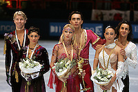 Winners in ice dancing are (L-R) Olivier Schoenfelder and Isabelle Delobel of France (silver), Elena Grushinia and Rusian Goncharov of Russia (gold), Frederica Faiella and Massimov Scali of Italy (bronze) at the Trophee Eric Bompard competition in Paris, France, November 19, 2005.  (Photo/Tom Theobald)