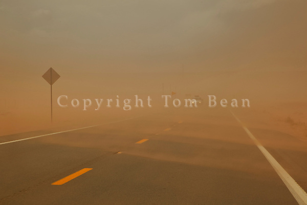 Blowing dust and sand on windy day, Highway 160 west of Tuba City, Navajo Nation, Arizona, _MG2_11524.