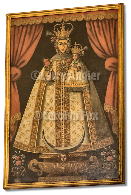Historic painting of Mary with baby Jesus, Mission San Gabriel Arcángel, forth of the 21 California Missions and founded by Father Junipero Serra, September 8, 1771.