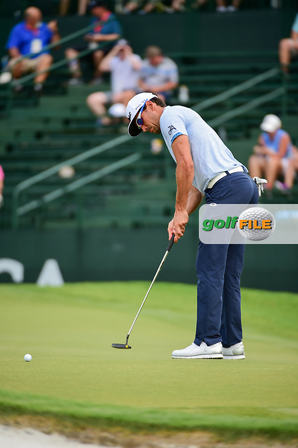Rafael Cabrera Bello (ESP) watches his putt on 4 during Thursday's round 1 of the PGA Championship at the Quail Hollow Club in Charlotte, North Carolina. 8/10/2017.<br /> Picture: Golffile | Ken Murray<br /> <br /> <br /> All photo usage must carry mandatory copyright credit (&copy; Golffile | Ken Murray)