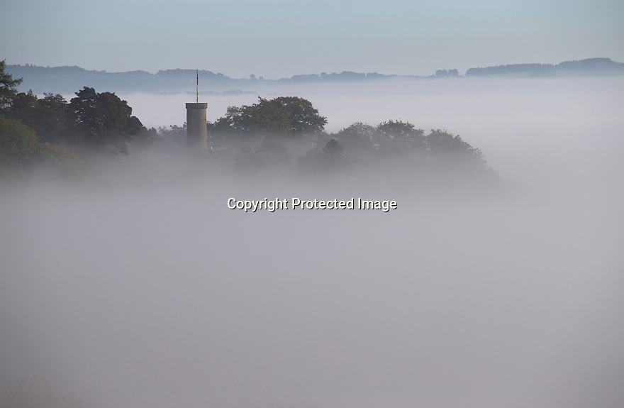 03/10/16 <br /> <br /> Victoria Prospect Tower pokes through the mist as a cloud inversion shrouds the Derwent Valley, above Matlock Bath in the Derbyshire Peak District.<br /> <br /> All Rights Reserved: F Stop Press Ltd. +44(0)1773 550665   www.fstoppress.com