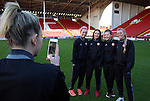 Sheffield United Ladies Jennifer Pearson (Left) takes a photo of her team-mates during the FA Women's Cup First Round match at Bramall Lane Stadium, Sheffield. Picture date: December 4th, 2016. Pic Clint Hughes/Sportimage