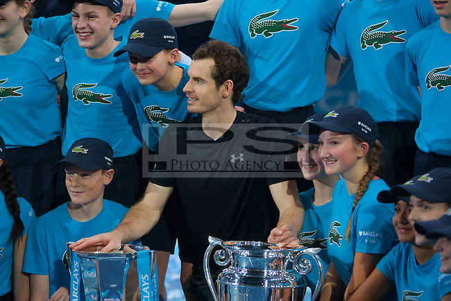 Andy Murray (GBR) poses with the Barclays Ball kids, ATP World Tour Finals 2016, Day Eight, O2 Arena, Peninsula Square, London, United Kingdom, 20th Nov 2016