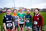 Enjoying the cross country competition held by Cumann na mBunscol Chairrai in the Caherslee GAA pitch in Tralee on Thursday afternoon last.  L to r, Grace Linnane (Dromclough NS), Orla Clifford (Castlegregory), Kiara Keane (Lisselton), Mia Keane  (Castlegregory), and Lauren Costello (Ballybunion).