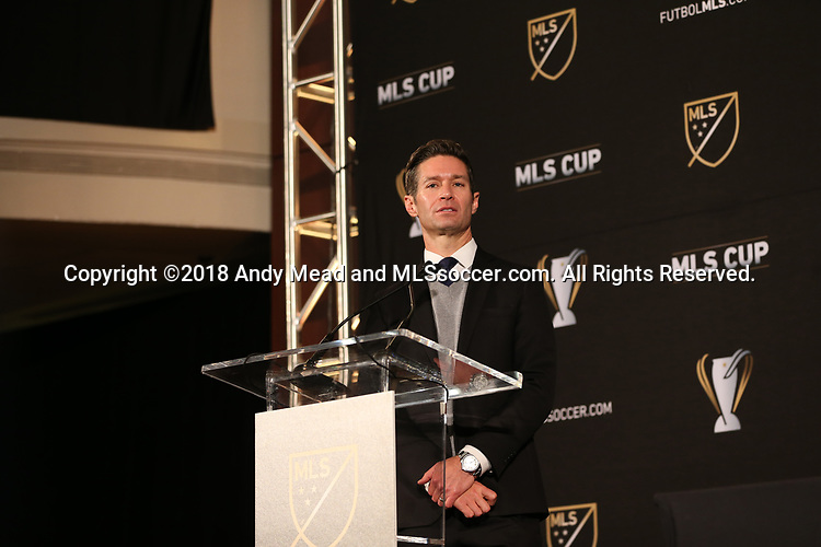 ATLANTA, GA - DECEMBER 07: MLS Executive Vice President of Communications Dan Courtemanche. The MLS State of the League Address and Press Conference was held on December 7, 2018 at the Westin Peachtree Plaza, Atlanta Peachtree Ballroom in Atlanta, GA.