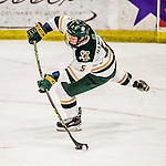 15 November 2015: University of Vermont Catamount Defenseman Rob Hamilton, a Junior from Calgary, Alberta, in action against the University of Massachusetts Minutemen at Gutterson Fieldhouse in Burlington, Vermont. The Minutemen rallied from a three goal deficit to tie the game 3-3 in their Hockey East matchup. Mandatory Credit: Ed Wolfstein Photo *** RAW (NEF) Image File Available ***
