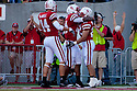 04 Sep 2010: Nebraska Cornhuskers running back Rex Burkhead (22) is congradulated on his towndown against Western Kentucky Hilltoppers by wide receiver Brandon Kinnie (84) and reciever Mike McNeill (44) at Memorial Staduim in Lincoln, Nebraska. Nebraska defeated Western Kentucky 49 to 10.