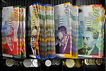 Different notes of the &quot;Shekel&quot; (NIS), Israel's currency.<br /> November 25, 2008<br /> Photo by Ahikam Seri