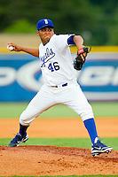 Burlington Royals starting pitcher Yender Caramo (46) in action against the Danville Braves at Burlington Athletic Park on July 19, 2012 in Burlington, North Carolina.  The Royals defeated the Braves 4-3.  (Brian Westerholt/Four Seam Images)