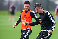 Wednesday  06 January 2016<br /> Pictured: (L-R ) Matt Grimes of Swansea and Franck Tabanou of Swansea in action during training<br /> Re: Swansea City Training session at the Fairwood training ground, Swansea, Wales, UK