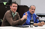 Kingston Mayor, Steve Noble, and Police Chief, Egidio F. Tinti, answering questions, at a Community Policing Forum, sponsored by the Kingston Branch of ENJAN and the Ministers Alliance of Ulster Co., held at New Progressive Baptist Church, on Hone Street in Kingston, NY, on Tuesday, December 13, 2016. Photo by Jim Peppler; Copyright Jim Peppler 2016.