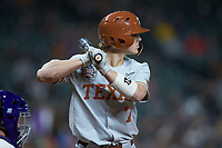 Douglas Hodo III (7) of the Texas Longhorns at bat against the LSU Tigers in game three of the 2020 Shriners Hospitals for Children College Classic at Minute Maid Park on February 28, 2020 in Houston, Texas. The Tigers defeated the Longhorns 4-3. (Brian Westerholt/Four Seam Images)