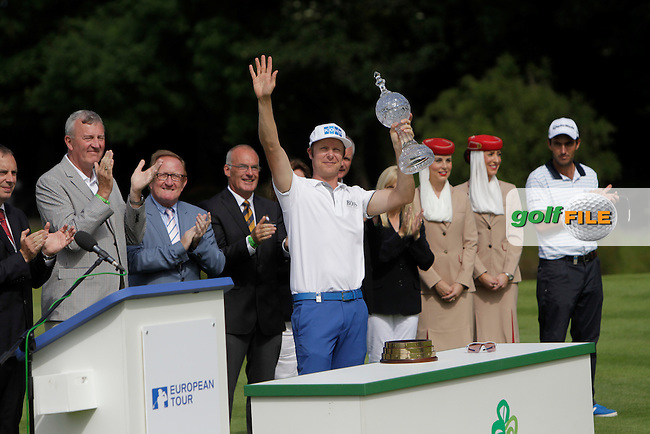 Mikko Ilonen (FIN) winner of the Irish Open at Fota Island on Sunday 22nd June 2014 salutes the crowd.<br /> Picture:  Thos Caffrey / www.golffile.ie