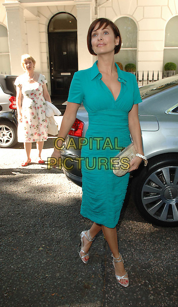 NATALIE IMBRUGLIA.Launch party for the Tara Smith Hair Products, Hemple Hotel, London, England, UK, .July 15th 2008.full length turquoise green dress collar ruched silver strappy sandals shoes clutch bag .CAP/WIZ.© Wizard/Capital Pictures.