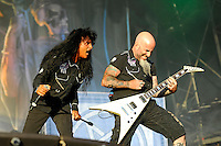 DERBYSHIRE, ENGLAND - AUGUST 14: Joey Belladonna and Scott Ian of 'Anthrax' performing at Bloodstock Open Air Festival, Catton Park on August 14, 2016 in Derbyshire, England.<br /> CAP/MAR<br /> &copy;MAR/Capital Pictures /MediaPunch ***NORTH AND SOUTH AMERICAS ONLY***