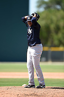 New York Yankees pitcher Jose Mesa (41) during a minor league spring training game against the Pittsburgh Pirates on March 28, 2015 at Pirate City in Bradenton, Florida.  (Mike Janes/Four Seam Images)