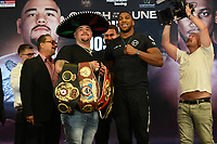 Andy Ruiz Jr and Anthony Joshua during a Press Conference at Hilton London Syon Park on 6th September 2019
