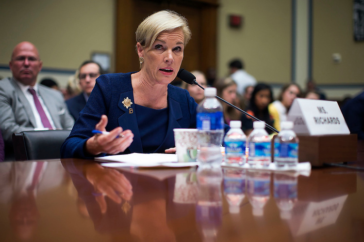 "UNITED STATES - September 29: Cecile Richards, President of Planned Parenthood Federation of America, speaks while testifying to the House Oversight and Government Reform Committee hearing on ""Planned Parenthood's Taxpayer Funding,"" in Capitol Hill in Washington, Tuesday, Sept. 29, 2015. (Photo By Al Drago/CQ Roll Call)"