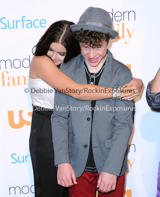 Westwood , California - October 28 :  Ariel Winter and Nolan Gould  arrives at The USA Network's Modern Family Fan Appreciation Day held at Westwood Village Theatres in Westwood, California on October 28,2012                                                                               © 2013 Hollywood Press Agency