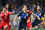 Shinji Okazaki (JPN), MARCH 29, 2016 - Football / Soccer : FIFA World Cup Russia 2018 Asian Qualifier Second Round Group E match between Japan 5-0 Syria at Saitama Stadium 2002, Saitama, Japan. Okazaki was made captain for the night to celebrate his 100th cap for his country. He is Japan's third all-time goalscorer with 48 goals in his 100 games. (Photo by YUTAKA/AFLO SPORT)