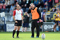 Referee John Meridith and John Wells of Newcastle Falcons. Pre-season friendly match, between Doncaster Knights and Newcastle Falcons on August 25, 2018 at Castle Park in Doncaster, England. Photo by: Patrick Khachfe / Onside Images