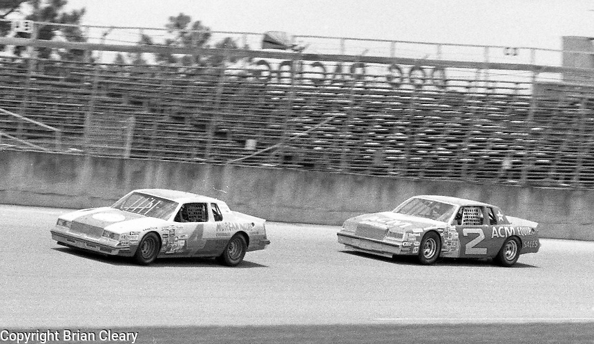 Mark Martin 4 Morgan Shepherd 2 action Firecracker 400 at Daytona International Speedway in Daytona Beach, FL on July 4, 1983. (Photo by Brian Cleary/www.bcpix.com)