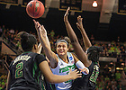 Mar. 31, 2014; Notre Dame Kayla McBride shoots over Baylor in the finals of the Notre Dame regional in the 2014 NCAA Tournament at the Purcell Pavilion. Notre Dame won 88-69. Photo by Barbara Johnston/University of Notre Dame