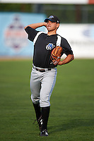 Hudson Valley Renegades pitcher Roel Ramirez (27) throws in the outfield before a game against the Vermont Lake Monsters on September 3, 2015 at Centennial Field in Burlington, Vermont.  Vermont defeated Hudson Valley 4-1.  (Mike Janes/Four Seam Images)