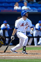 New York Mets first baseman Ike Davis #29 at bat during an exhibition game against the Michigan Wolverines at Tradition Field on February 24, 2013 in Port St Lucie, Florida.  New York defeated Michigan 5-2.  (Mike Janes/Four Seam Images)