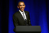 United States President Barack Obama speaks at a Democratic National Committee LGTB fundraiser at Gotham Hall in New York, New York, USA, 27 September 2015. <br /> Credit: Peter Foley / Pool via CNP
