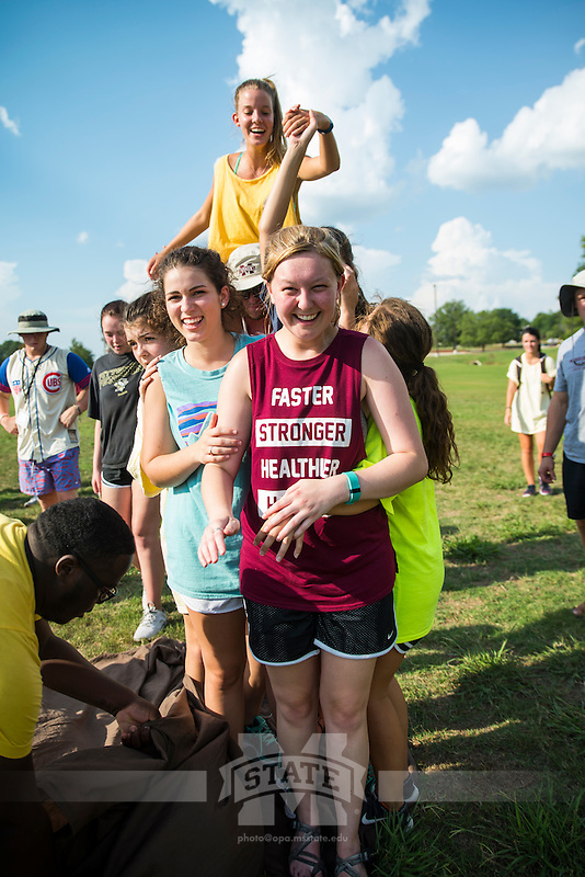 New Maroon campers and counselors enjoy Family Olympics on a hot summer day on the Club Sports Fields.<br />  (photo by Sarah Dutton / &copy; Mississippi State University)