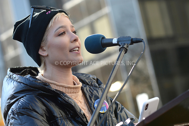 www.acepixs.com<br /> January 20, 2018  New York City<br /> <br /> Halsey speaks to crowds of protesters at the Women's March on January 20, 2018 in New York City.<br /> <br /> Credit: Kristin Callahan/ACE Pictures<br /> <br /> Tel: 646 769 0430<br /> Email: info@acepixs.com