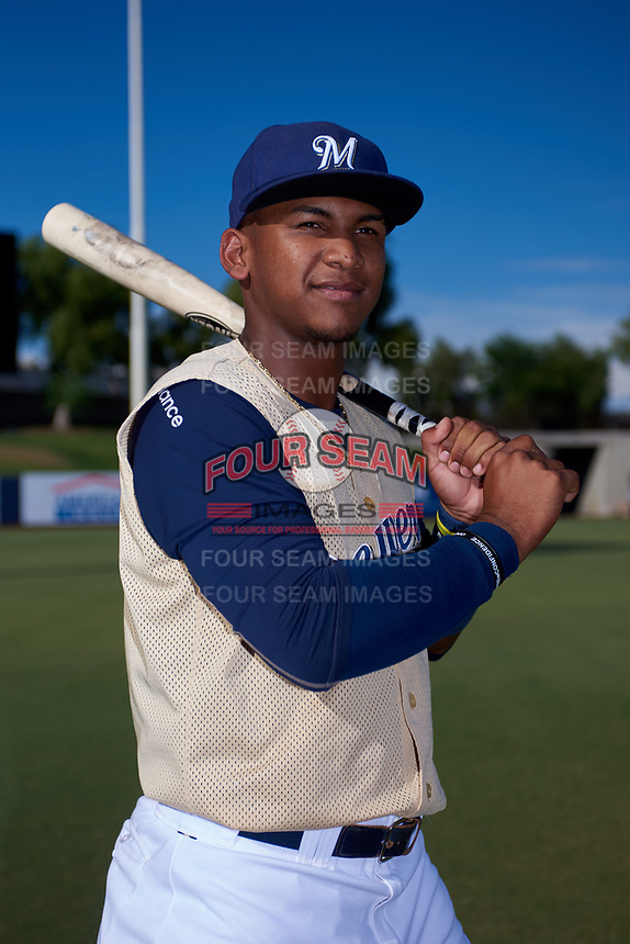 AZL Brewers Gold Oswel Leones (2) poses for a photo before an Arizona League game against the AZL Brewers Blue on July 13, 2019 at American Family Fields of Phoenix in Phoenix, Arizona. The AZL Brewers Blue defeated the AZL Brewers Gold 6-0. (Zachary Lucy/Four Seam Images)