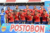 BARRANQUILLA - COLOMBIA -25-01-2014: Los jugadores de Universidad Autonoma posan para una foto durante del partido de la primera fecha de la Liga Postobon I-2014, jugado en el estadio Metropolitano Roberto Melendez de la ciudad de Barranquilla. / The players of Universidad Autonoma pose for a photo during a match for the first date of the Liga Postobon I-2014 at the Metropolitano Roberto Melendez Stadium in Barranquilla city. Photo: VizzorImage  / Alfonso Cervantes / Str.