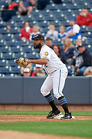 Akron RubberDucks first baseman Nellie Rodriguez (12) during an Eastern League game against the Reading Fightin Phils on June 4, 2019 at Canal Park in Akron, Ohio.  Akron defeated Reading 8-5.  (Mike Janes/Four Seam Images)