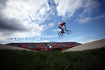 LONDON, ENGLAND - AUGUST 8:  A competitor on track during the BMX Seeding Phase Runs, Day 13 of the London 2012 Olympic Games on August 8, 2012 at BMX Track Olympic Park in London, England. (Photo by Donald Miralle)