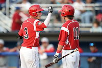Batavia Muckdogs outfielder Ryan Aper (3) fist bumps Aaron Blanton (11) after hitting a home run during a game against the Lowell Spinners on July 18, 2014 at Dwyer Stadium in Batavia, New York.  Lowell defeated Batavia 11-2.  (Mike Janes/Four Seam Images)