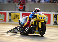 Jun. 29, 2012; Joliet, IL, USA: NHRA pro stock motorcycle rider Scott Pollacheck during qualifying for the Route 66 Nationals at Route 66 Raceway. Mandatory Credit: Mark J. Rebilas-