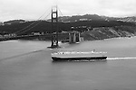 """Century 2"" Black and White. A cargo ship approaching the Golden Gate Bridge San Francisco, California."