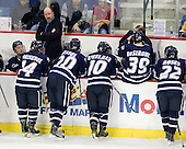 ?, Mike Borisenok (UNH - 14), Scott Borek (UNH - Associate Head Coach), Blake Kessel (UNH - 20), Dalton Speelman (UNH - 10), Phil DeSimone (UNH - 39), Dick Umile (UNH - Head Coach), Stevie Moses (UNH - 22) - The visiting University of New Hampshire Wildcats defeated the University of Massachusetts-Lowell River Hawks 3-0 on Thursday, December 2, 2010, at Tsongas Arena in Lowell, Massachusetts.