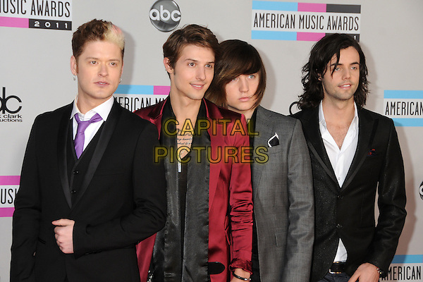 Hot Chelle Rae.2011 American Music Awards - Arrivals held at Nokia Theatre LA Live, Los Angeles, California, USA..November 20th, 2011.ama amas ama's half length black grey gray red jacket award trophy winners Ryan Follese Nash Overstreet Ian Keaggy Jamie Follese.CAP/ADM/BP.©Byron Purvis/AdMedia/Capital Pictures.