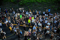 NEW YORK, NEW YORK - June 7: A large march of people crosses the middle of Central Park during a protest in Upper Manhattan on June 7, 2020 in New York, NY. Protesters continue to take to the streets across the United States and other parts of the world after the murder of George Floyd by a white police officer Derek Chauvin. The protests attempt to give voice to the need for African American human rights. (Photo by Pablo Monsalve / VIEWpress )