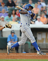 July 7, 2008: Outfielder Derrick Robinson (11) of the Wilmington Blue Rocks, Class A affiliate of the Kansas City Royals, in a game against the Myrtle Beach Pelicans at BB&T Coastal Field in Myrtle Beach, S.C. Photo by:  Tom Priddy/Four Seam Image
