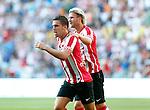 Nederland, Eindhoven, 18 augustus 2012.Seizoen 2012-2013.PSV-Roda JC.Kevin Strootman van PSV juicht nadat hij de 1-0 heeft gescoord. Rechts Ola Toivonen van PSV.