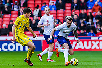 ?Norwich City's forward James Maddison (10) for England U21's turns ?FC Shakhtar Donetsk's midfielder Oleksandr Pikhalyonok (20) for Ukraine U21's during the International Euro U21 Qualification match between England U21 and Ukraine U21 at Bramall Lane, Sheffield, England on 27 March 2018. Photo by Stephen Buckley / PRiME Media Images.