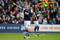Lets hope Millwall are all pointing in the same direction going forward as Shaun Williams points one way and in the background, Mahlon Romeo points the other during Millwall vs Leeds United, Sky Bet EFL Championship Football at The Den on 5th October 2019