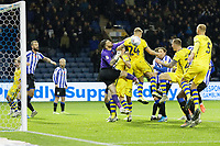 Ben Wilmot of Swansea City (2nd R) scores a goal with a header during the Sky Bet Championship match between Sheffield Wednesday and Swansea City at Hillsborough Stadium, Sheffield, England, UK. Saturday 09 November 2019