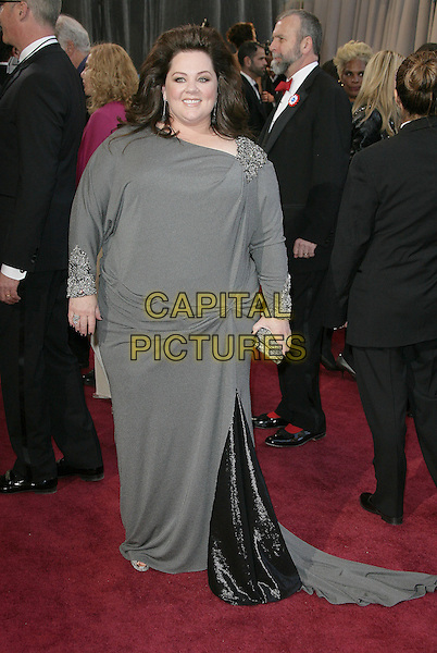 Melissa McCarthy.85th Annual Academy Awards held at the Dolby Theatre at Hollywood & Highland Center, Hollywood, California, USA..February 24th, 2013.oscars full length dress grey gray embellished jewel encrusted beads beaded clutch bag .CAP/ADM.©AdMedia/Capital Pictures.