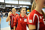 Rüsselsheim, Germany, April 13: Lena Stigrot #14 of the Rote Raben Vilsbiburg celebrates after winning against VC Wiesbaden after play off Game 1 in the best of three series in the semifinal of the DVL (Deutsche Volleyball-Bundesliga Damen) season 2013/2014 between the VC Wiesbaden and the Rote Raben Vilsbiburg on April 13, 2014 at Grosssporthalle in Rüsselsheim, Germany. Final score 0:3 (Photo by Dirk Markgraf / www.265-images.com) *** Local caption ***